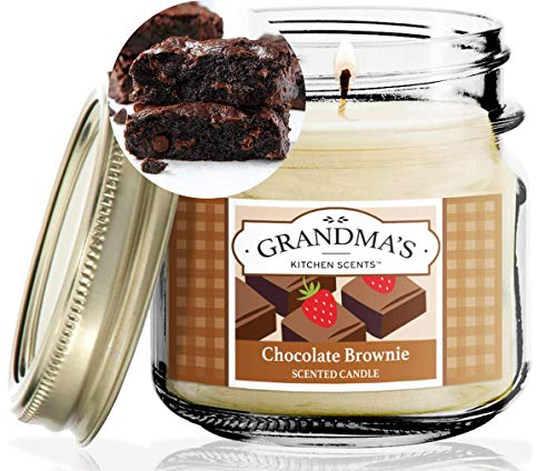 Chocolate Brownie Scented Candles for Home | Non Toxic Long Lasting Soy Candles | Delicious Scent | 8 oz Mason Jar | Hand Made in The USA