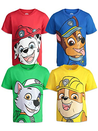 Paw Patrol Toddler Boys 4 Pack T-Shirts Marshall Chase Rocky Rubble 3T
