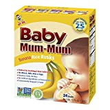 Hot-Kid Baby Mum-Mum Rice Rusks, Banana, 24 Pieces (Pack of 6) Gluten Free, Allergen Free, Non-GMO, Rice Teether Cookie for Teething Infants