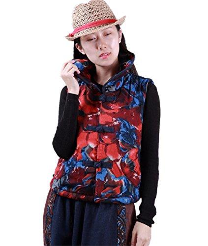 弓守るうなるYesno TT0 女性コットンベストジャケット人形の襟エスニックフラワープリント中国スタイルの手作りcheongsamボタンポケット