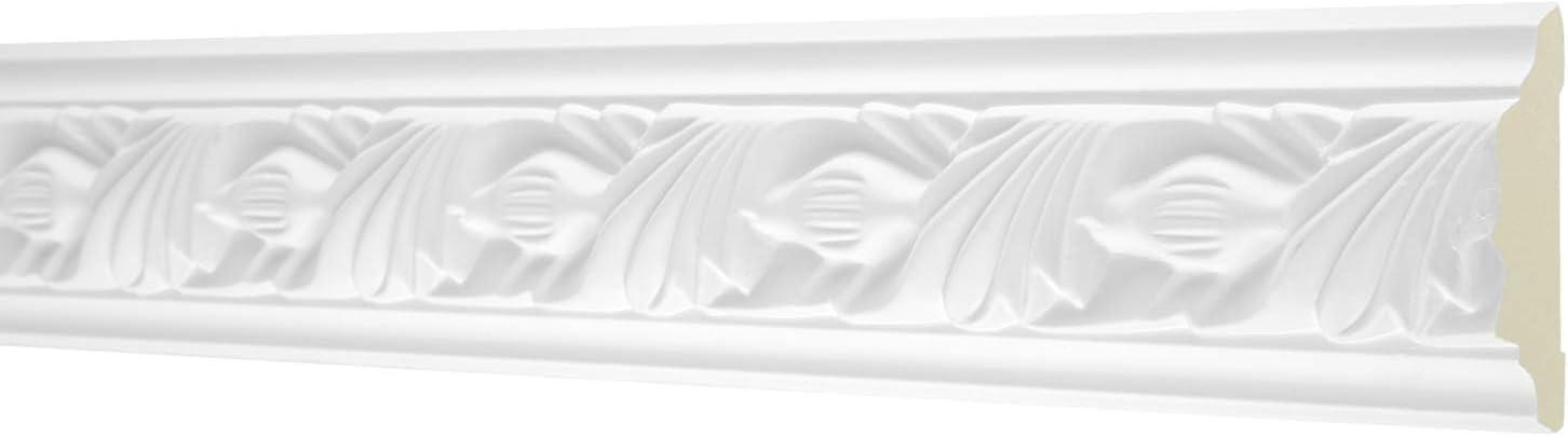 sto/ßfest 2 Meter Flachprofil 53x24mm AC258 Hexim Perfect Stuckprofil aus PU gemustert wei/ß Flachleiste Dekorleiste Wandleiste Zierprofile