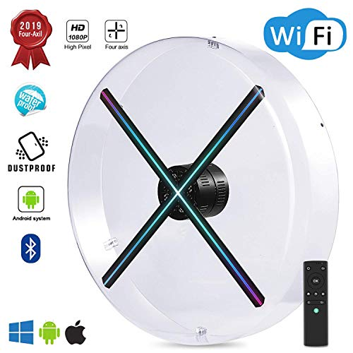 2019 Premium 4K 3D Hologram Fan Display , Android Smart Operating System ,Upload by APP /TF Card/Cloud Serve ,Support WiFi+Bluetooth,1080P HD Holographic Advertising Fan (Best Projector 2019 4k)
