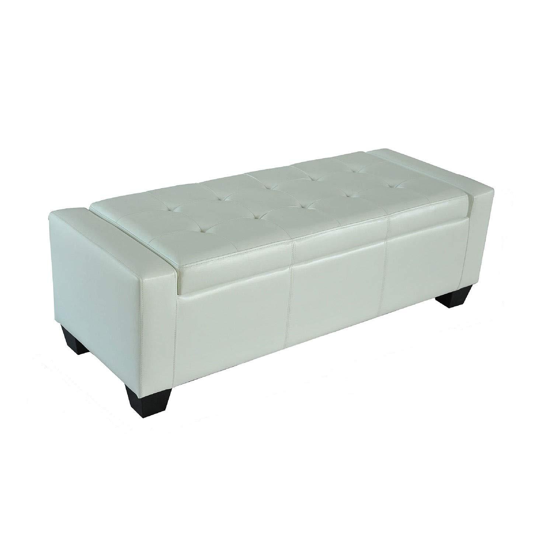 HOMCOM 51'' Faux Leather Unique Tufted Storage Bench Ottoman - Cream White by HOMCOM