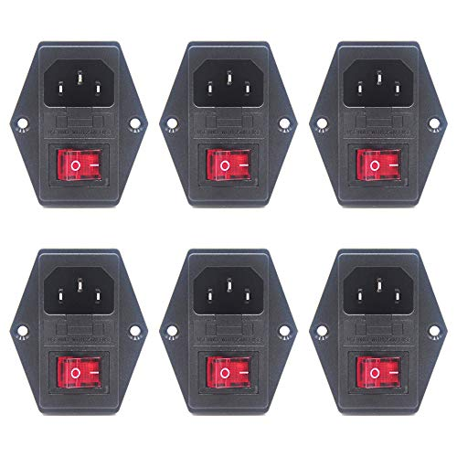 Inlet Module Plug Male Power Socket with 5A Fuse Switch 10A 250V 3 Pin IEC320 C14 Red (6 Pack) by ()