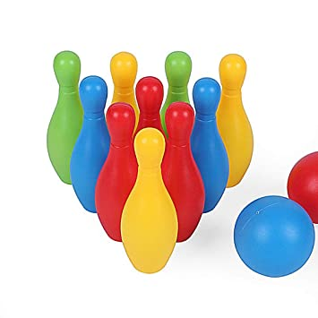 Yeldou Toy Bowling, Toys Bowling Game Set with 10 Pins + 2 Bowling Balls Toys for Ages 2 3 4 5 6 Years Old Toddler, Multi-Color Bowling Set Game for Indoors and Outdoors Sport Activities