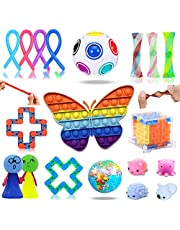 19 Pack Sensory Toys Set, Relieves Stress and Pop Fidget Toy for Children and Adults, Special Butterfly Fidget Toys Pack Assortment for Birthday Party Fidget Party Favors Gifts