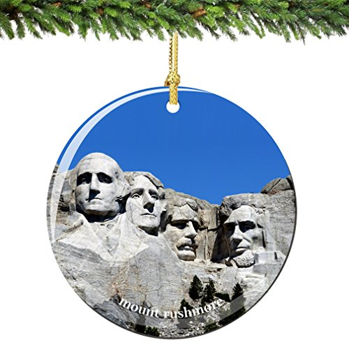 Mount Rushmore Christmas Ornament Porcelain, Double Sided 2.75 Inches