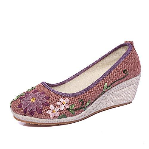 Perfectupstore Casual Flowers Ladies Pumps Summer Shoes Hemp Slip On Wedges Women Platform Pump Ww509 White 7