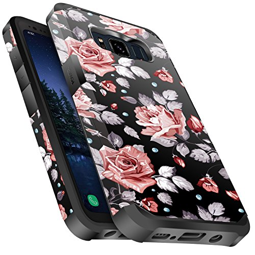 Galaxy S8 Active Case Shockproof, Miss Arts Slim Anti-Scratch Protective Kit with [Drop Protection] Heavy Duty Dual Layer Hybrid Sturdy Armor Cover Case for Samsung Galaxy S8 Active -Rose Gold Flower