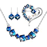 Change Color Earring Necklace PLATO H Ocean Blue Pendant Necklace Cubic Earrings Set with Swarovski Crystals Women's Gift Sets, 6 Different Crystal Jewelry Set Style