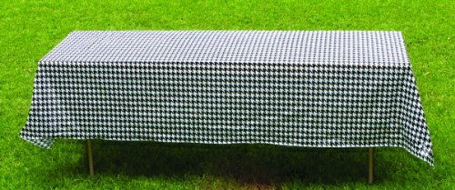 """Houndstooth Paper Table Cover (54"""" x 108"""", Water and Tear Resistant, Black and White) Alabama Houndstooth Collection by Havercamp"""