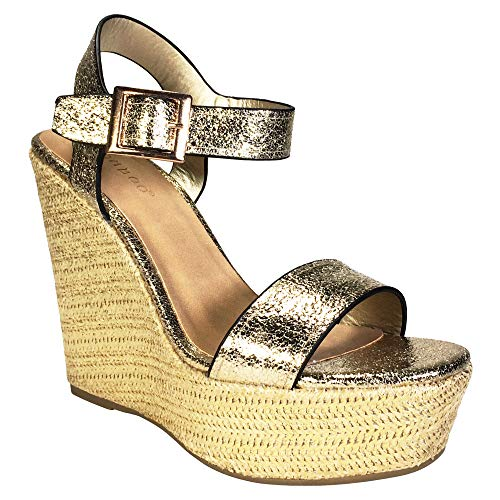 - BAMBOO Women's Single Band Wedge Platform Sandal with Quarter Strap, Aurelia, 8.0 B US