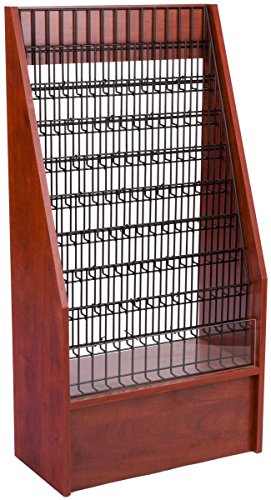 "Literature Racks 24""w x 47""h x 12""d Red Mahogany Melamine Floor Standing Brochure Stands for 4""w x 9""h and 8-1/2""w x 11""h Promotions – Leaflet Holders Offer Up to 45 Pockets by Displays2go"