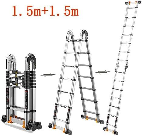 XUQIANG Escalera Plegable Escalera Recta for el hogar Fácil de Llevar Ingeniería Multifuncional Escalera de Doble Cara con fórmula de encoger aleación de Aluminio Tritthocker (Size : 1.5m+1.5m): Amazon.es: Hogar