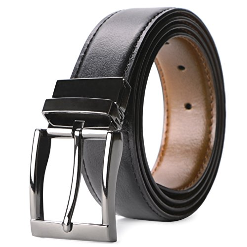 Men's Genuine Leather Reversible Dress Belt Removable Buckle Black/Brown -By JASGOOD (Youth Belt Leather)