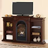 Duluth Forge Dual Fuel Vent Free Fireplace With Bookshelves – 15,000 BTU, T-Stat, Chocolate Finish