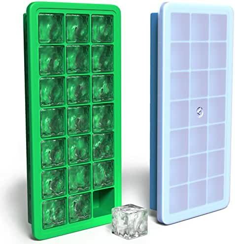 Vremi Silicone Ice Cube Trays with Lids - 2 Pc Covered Ice Cube Tray Set with 42 Ice Cubes Molds - Flexible Rubber Plastic Stackable Mini Cocktail Whiskey Ice Cube Mold Storage Containers - Blue Green