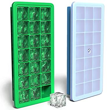 Vremi Silicone Ice Cube Trays with Lids - 2 Piece Covered Ice Cube Tray Set - 21 Small Cubes per Ice Tray 42 Cubes Total - Flexible Rubber Plastic Stackable Mini Easy Cocktail or Whiskey Ice Cube Tray