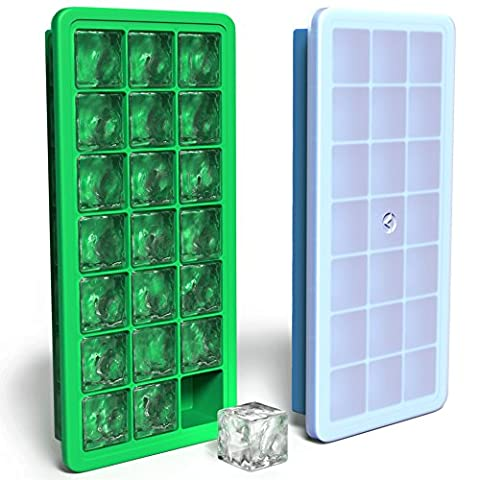 Vremi Silicone Ice Cube Trays with Lids - 2 Pc Covered Ice Cube Tray Set with 42 Ice Cubes Molds - Flexible Rubber Plastic Stackable Mini Cocktail Whiskey Ice Cube Mold Storage Containers - Blue (Jumbo Crystal Rings)