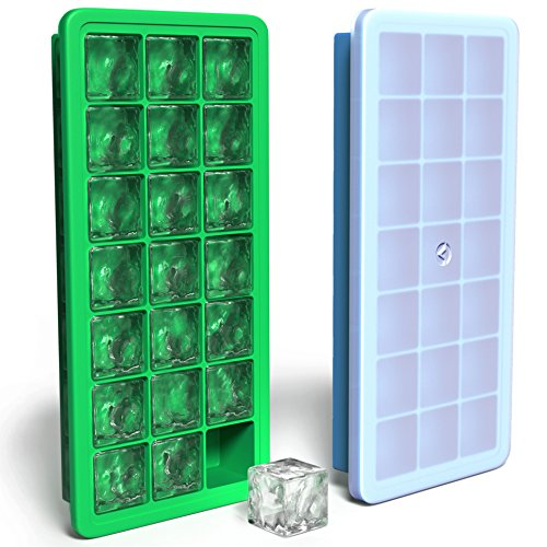 Vremi Silicone Ice Cube Trays with Lids - 2 Pc Covered Ice Cube Tray Set with 42 Ice Cubes Molds - Flexible Rubber Plastic Stackable Mini Cocktail Whiskey Ice Cube Mold Storage Containers - Blue Green (Cube Plastic Tray Ice)