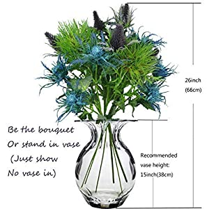 Lily Garden 6 Long Stems Artificial Eryngo Thistles Bunch of Flowers Plants for Home Decor Centerpieces 3