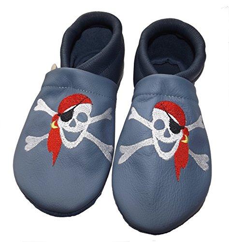 JANAs Krabbelschuhe Piraten/Knochen Stickmotiv, blau, Baby, Junge, Mädchen, Kinder Hausschuhe aus Leder Dunkelblau
