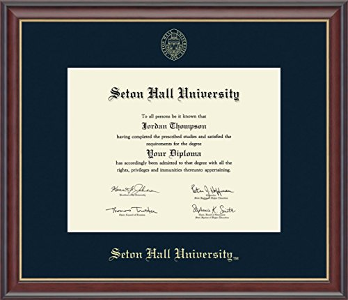 Seton Hall Gold Embossed Diploma Frame - Features Solid Hardwood