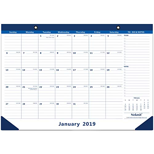 (Nekmit Monthly Desk Pad Calendar June 2018- December 2019, Ruled Blocks, 16-3/4 x 11-4/5 Inches, Blue)