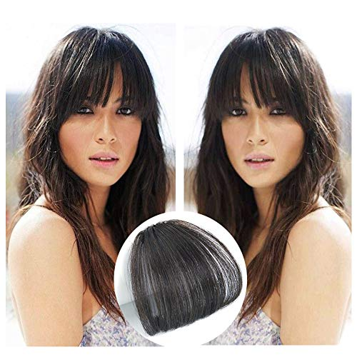 Reysaina Air Fringe Remy Human Hair Pieces Front Clip in Hair Fringe Hair Extensions without Hair Temples #2 Darkest Brown