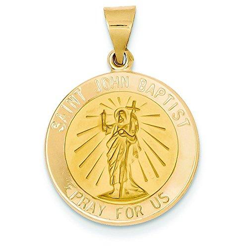 Or 14carats poli et satiné St. John Baptist Médaille Pendentif