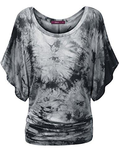 doublju-women-3-4-sleeve-back-lace-active-wear-gray-tops