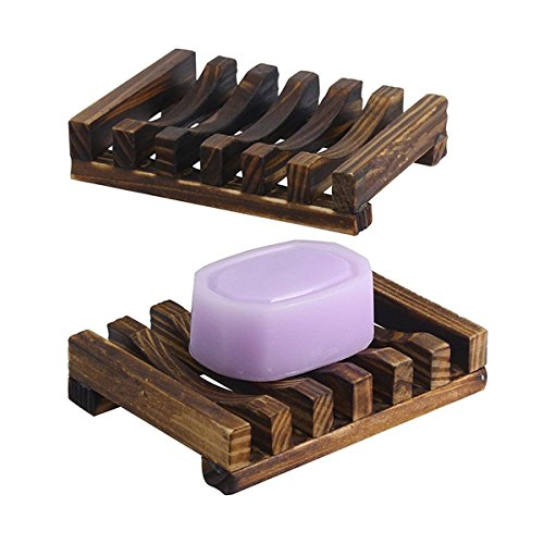 The Flash Store Bathroom Accessories Handmade Natural Wood Soap Dish Wooden Soap Holder, Rectangular, Hand Craft, Natural Wooden Holder for Sponges, Scrubber (Dark brown, 1)