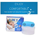 Gycoo - Anti Snoring Solution Air Purifier Filter Snore Stopper Device Chin Strap Nose Vent Solution for Comfortable Sleep (Blue)