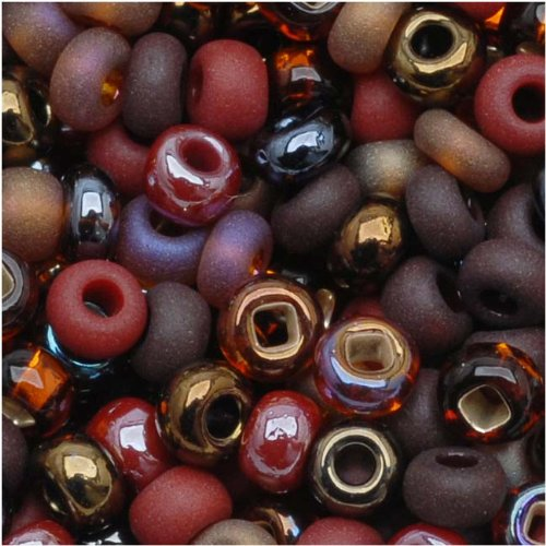 Czech Seed Beads 8/0 Chocolate Mud Pie Mix Brown (1 Ounce) Brown Glass Seed Beads