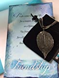 Smiling Wisdom - Gray Black Real Leaf Friendship Necklace Gift Set - Reason Season Lifetime Friendship Greeting Card - Long Sweater Leaf Statement Necklace - For Her, Awesome Best Friend