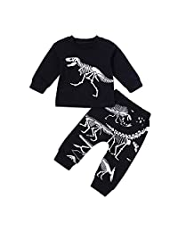 LNGRY Baby Boy Girl Kids Outfits Dinosaur Bone Print Tops T-Shirt Pants 2pcs Set