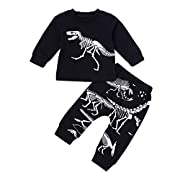 Winsummer 2Pcs Toddler Baby Kids Dinosaur Bone Tops T-Shirt Pants Home Outfits Set Clothes (Black, 2T)