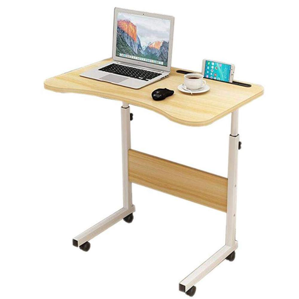 LJNYF Folding Table,Arc Side Removable Student Desk,Multi-Function Writing Desk,Lift Home Student Desk,Bedroom Table,with Card Slot 2 Color 80cm40cm by LJNYF