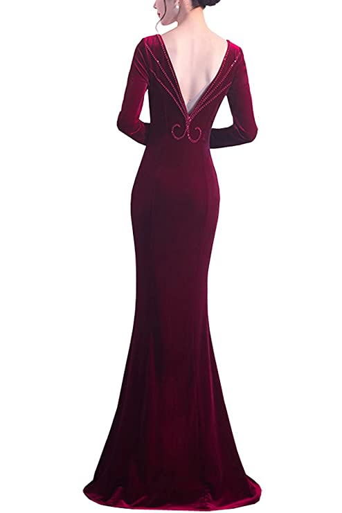 KAXIDY Women Formal Dresses Bridesmaid Dresses Long Prom Gowns Velvet Long Evening Dress: Amazon.co.uk: Clothing