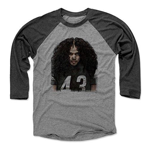 500 LEVEL Troy Polamalu Baseball Tee Shirt XX-Large Black/Heather Gray - Vintage Pittsburgh Football Raglan Shirt - Troy Polamalu Sketch K -