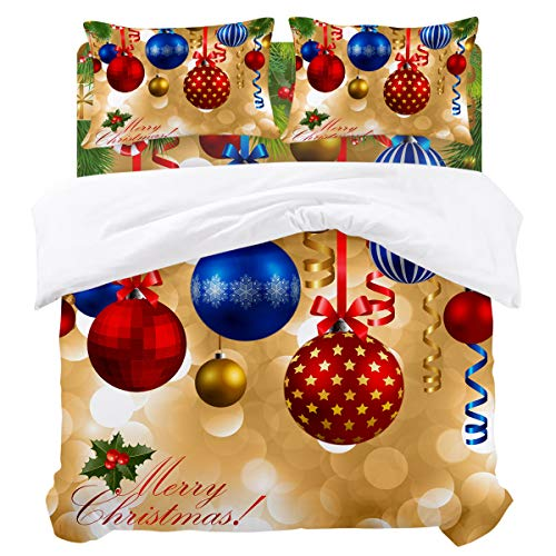 - DaringOne Christmas Balls Duvet Cover Set (4 Pcs, King) Cedar Bell Ribbon Colorful Decor Bedding Set 4 Piece Lightweight Bed Comforter Covers Includes 2 Pillow Shams