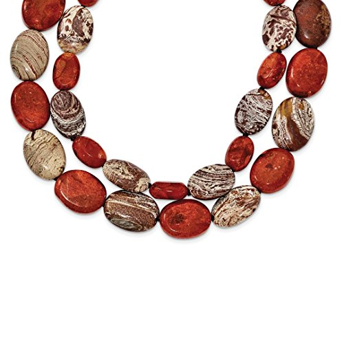 - ICE CARATS 925 Sterling Silver Carnelian/reconstituted Coral/red Zebra Jasper Chain Necklace Pendant Charm Natural Stone Fine Jewelry Ideal Gifts For Women Gift Set From Heart