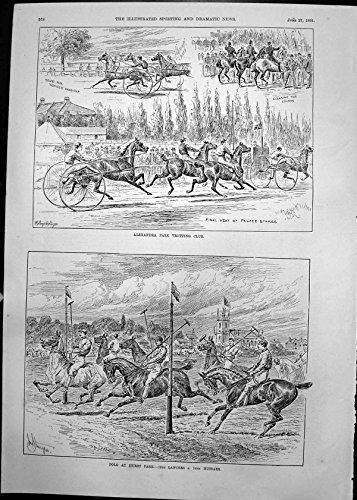 Lancer Club - old-print Alexandra Park Trotting Club Polo Hurst Park Lancers Hussars 1891 578T135