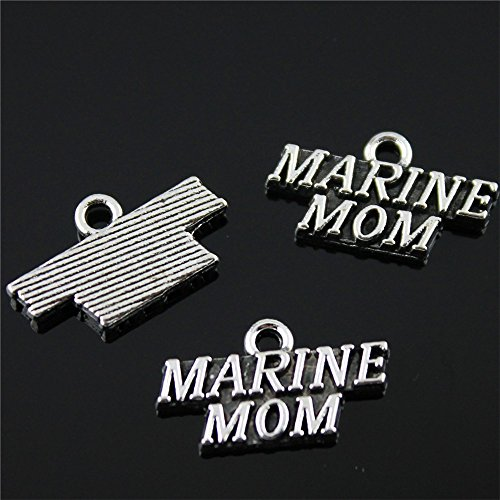 Marine Mom Pendant - NEWME 35Pcs MARINE MOM Charms Pendant For DIY Jewelry Wholesale Crafting Bracelet and Necklace Making