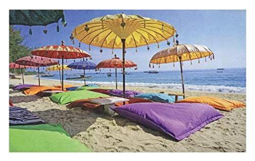 - Lunarable Balinese Doormat, Pristine Beach Bathed by The Bali Sandy Seashore Daytime Umbrellas Pillows Leisure, Decorative Polyester Floor Mat with Non-Skid Backing, 30 W X 18 L Inches, Multicolor