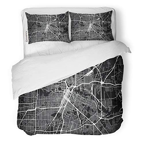 Emvency Decor Duvet Cover Set Twin Size America Urban City Map of Houston Texas USA Navigation Road Street Aerial Area 3 Piece Brushed Microfiber Fabric Print Bedding Set Cover]()