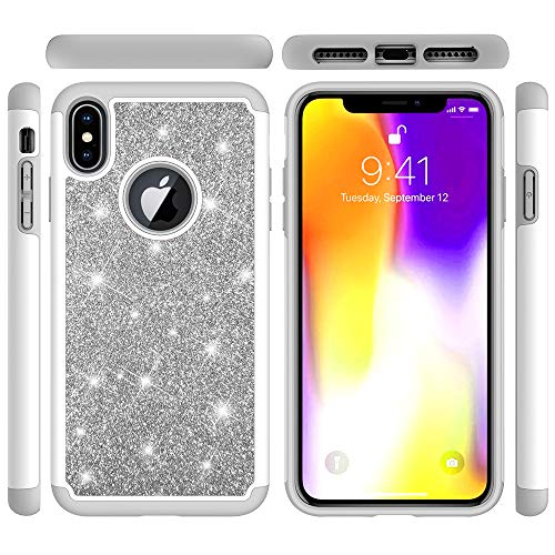 iPhone Xs Max Case, Tznzxm Fashion Shiny Dual Layer Anti-Scratch Heavy Duty Hard PC Soft Silicone Shockproof Bling Sparkly Defender 2 in 1 Protective Case for iPhone Xs Max Case 6.5 Inch 2018 Grey (Grey Basic Bling)