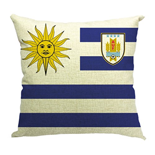JTC Cotton Linen Square Football Fan Flag Pillowcase 32 Countries (Uruguay #28)