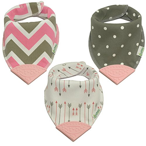 Whole Family Co. Premium Organic Cotton Baby & Toddler Bandana Bibs with BPA Free Silicone Teether, Soft & Absorbent, For Teething, Drooling & Feeding, Adjustable Size, Great Gift (Pink Arrows)