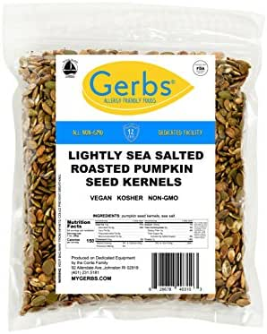 Lightly Sea Salted Pumpkin Seed Kernels, 4 LBS by Gerbs – Top 14 Food Allergy Free & NON GMO - Vegan & Kosher - Dry Roasted Premium Quality Seeds
